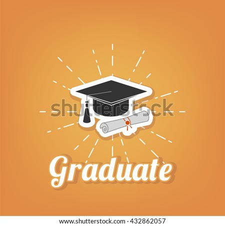 University and Graduation design over yellow background, vector illustration. Graduate cap, hat. - stock vector