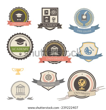 University, college and academy heraldic emblems logo with shields, buildings, wreaths, ribbons and education elements - stock vector
