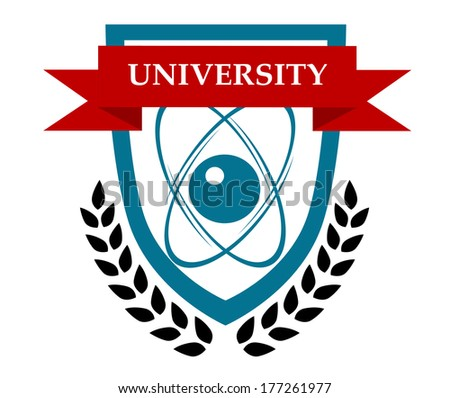 University emblem logo design with orbiting atoms in a shield depicting the sciences and a ribbon banner with the text and a foliate wreath below - stock vector