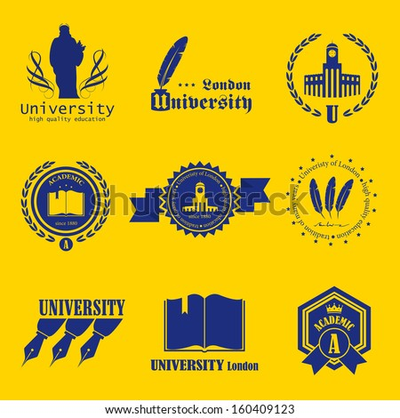 University Labels Set - Isolated On Background - Vector Illustration, Graphic Design Editable For Your Design  - stock vector