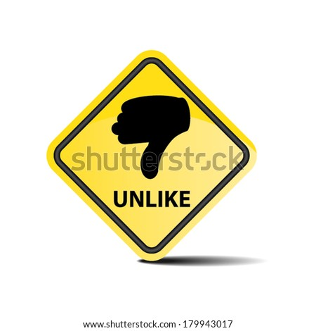Unlike with hand yellow sign on white background - Vector. - stock vector