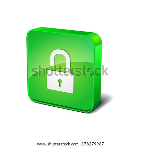 Unlock 3d Rounded Square Blue Vector Button Icon Design - stock vector