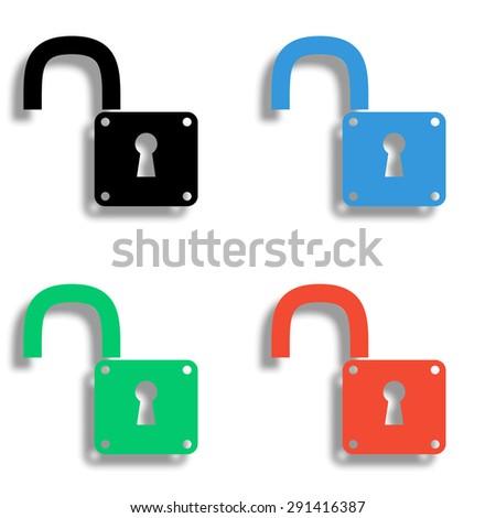 unlock icon with shadow - colored vector set - stock vector