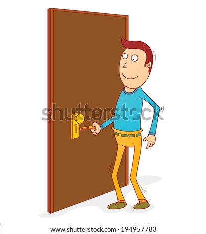 unlocking the door - stock vector