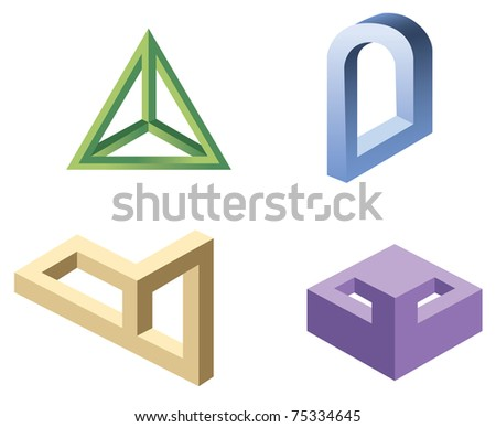 unreal geometrical shapes symbols, vector - stock vector