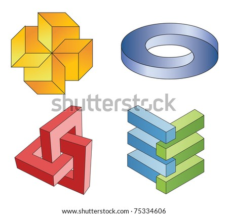 unreal geometrical symbols, vector - stock vector