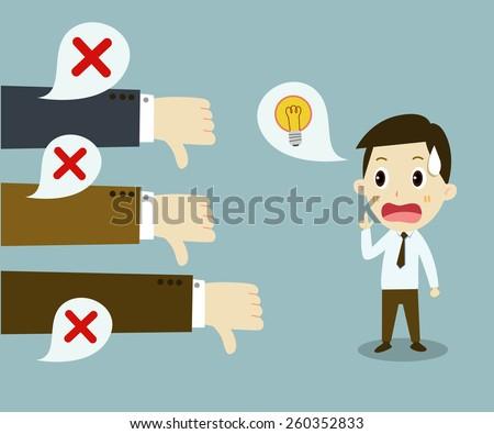 Unsuccessful businessman . negative feedback Conceptual - stock vector
