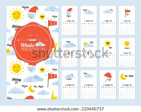 Unusual calendar for 2015. Merry Christmas lettering in vintage hipster style with mosaic typography. Vintage collection. Can be used like happy birthday cards. Good organizer and schedule. - stock vector