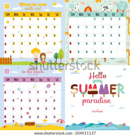 Unusual calendar for 2015 with cartoon and funny animals and kids with place text. Vector illustration in cute style. Can be used like happy birthday cards. Good organizer and schedule. - stock vector