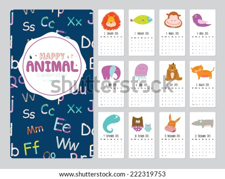 Unusual calendar for 2015 with cartoon and funny animals. Vector illustration in cute style. Vintage collection. Can be used like happy birthday cards. Good organizer and schedule. - stock vector