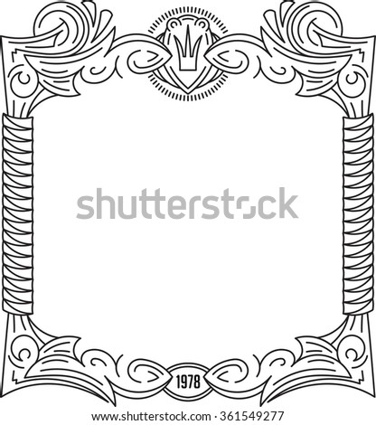 Unusual, decorative lace ornament, vintage frame with crown and oval place for date or monogram. Vector illustration greeting card, invitation.  - stock vector
