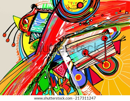 unusual digital painting of abstract composition, vector illustration - stock vector