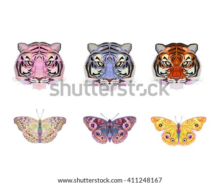 Unusual isolated abstract tiger and bright butterfly, vector illustration - stock vector