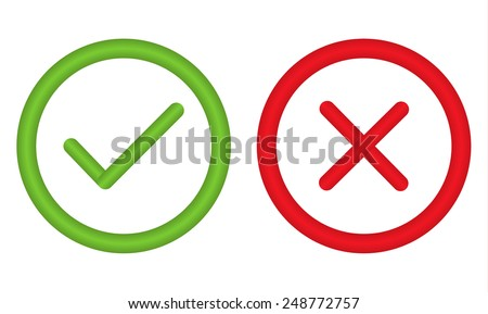 Unusual right and wrong symbol in circle - for any use - stock vector