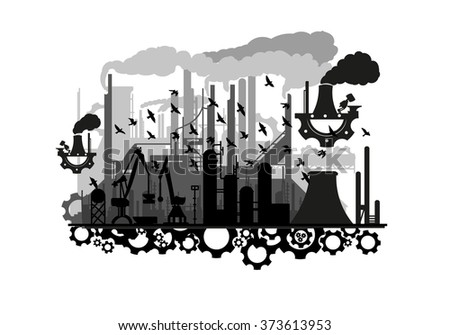unusual steampunk silhouette industry with the gears(vector eps10) - stock vector