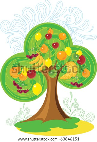 Unusual tree with a rich crop of various fruit - stock vector