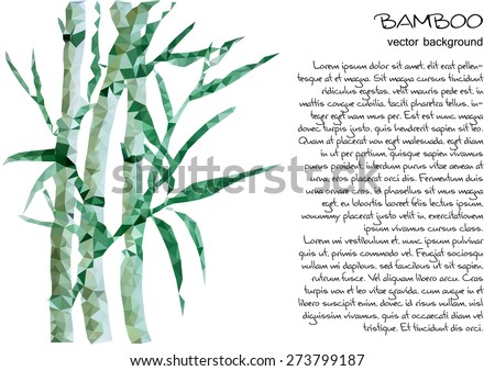 Unusual trendy bamboo poly style background isolated . Vector version - stock vector