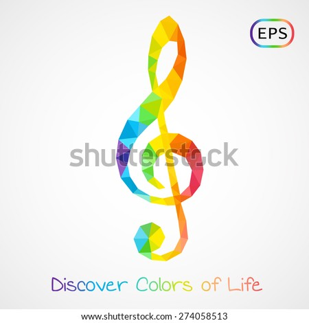 Unusual trendy colorful poly style g-clef isolated. Vector version - stock vector