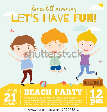 Unusual vector invitation card on a summer beach party with smiling and happy kids in vintage hipster style. Bright summer background with balloons, beach, sky, sea. Cute and cartoon boys and girls.  - stock vector