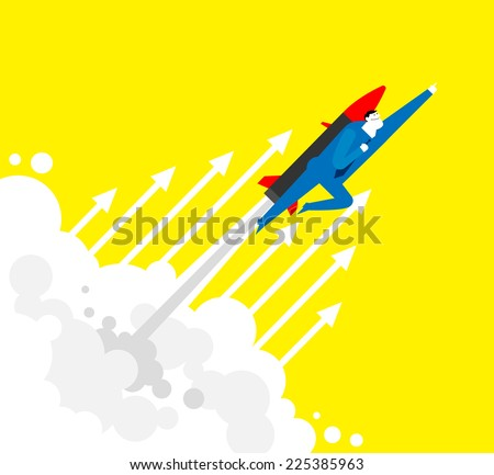 UP!A business man is flying through the clouds by rocket. - stock vector