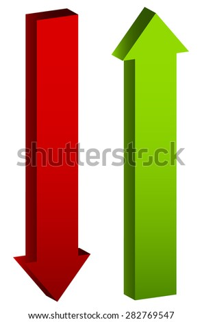 Up and down arrows in green and red, editable vector. - stock vector