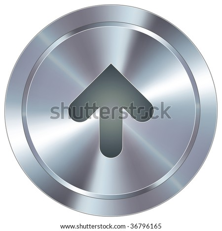 Up arrow direction icon on round stainless steel modern industrial button suitable for use as a website accent, on promotional materials, or in advertisements. - stock vector