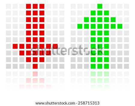 Up Down Arrow Icons Made of Squares - stock vector