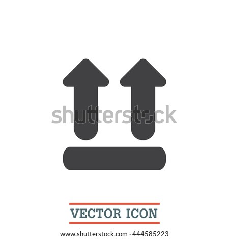 UP side transport vector icon. Fragile packaging. Label with instructions symbol - stock vector