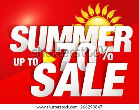Up to 70% Summer Sale Poster design (Paper Folding Design)  - stock vector