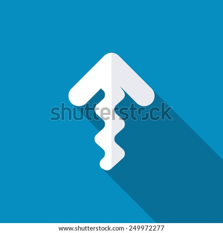 Up zig zag arrow icon. Modern design flat style icon with long shadow effect - stock vector