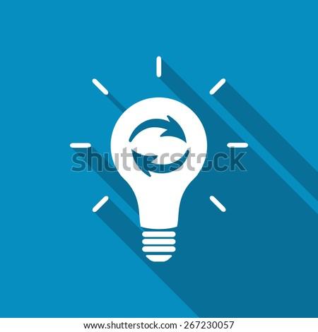 Update light bulb. Recycling light bulb. - stock vector