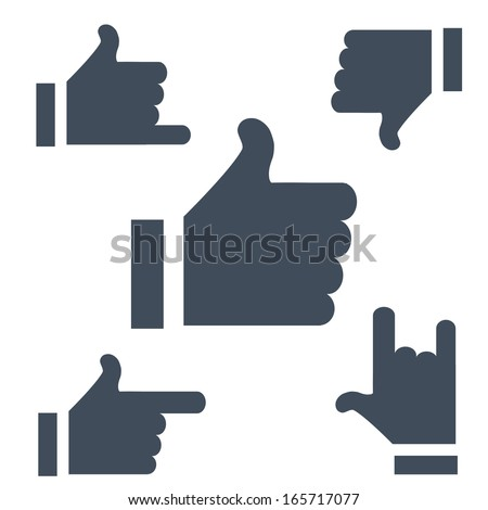 Updated versions of the symbols Likes buttons to use the Internet or applications. - stock vector