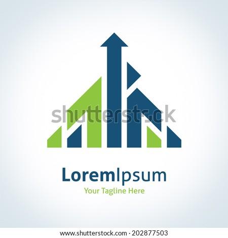 Upgrade business company icon green arrow up icon corporate logo - stock vector