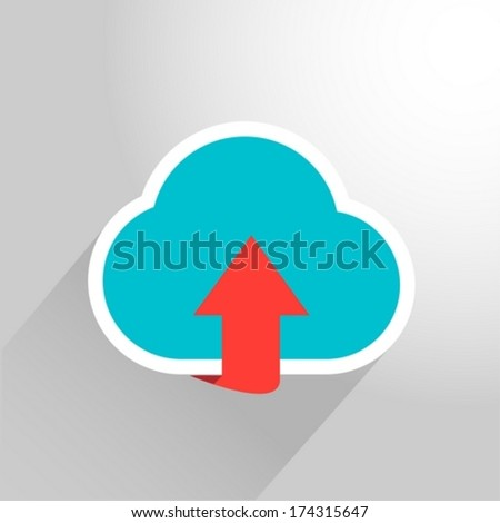 Upload cloud icon flat style - stock vector