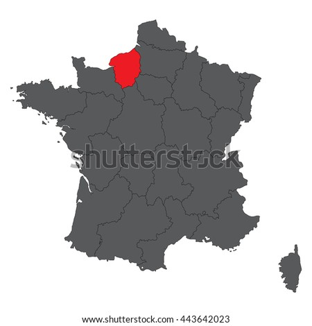 Upper Normandy red map on gray France map vector - stock vector