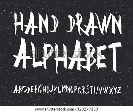 Uppercase alphabet letters. Hand drawn letters. Vector alphabet. Letters of the alphabet written with a black marker - stock vector