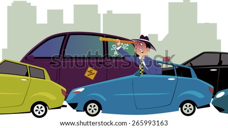 Upset driver, sitting in a traffic jam, looking out of his car with a spy-glass, cityscape on the background, vector illustration, no transparencies, EPS 8 - stock vector