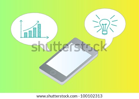 Upward chart arrow and mobile phone - stock vector