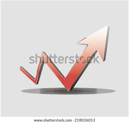 Upward trending red dimensional zigzag arrow on a business graph showing growth improvement success and development. Vector illustration of diagram with red arrow going up  - stock vector