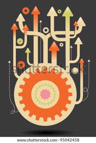 upwards cogs illustration eps vector - 4 - stock vector