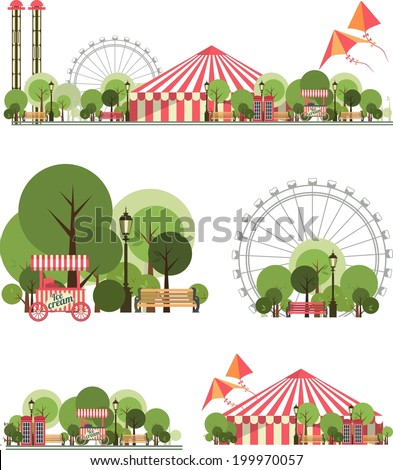 urban amusement park circus tent roundabouts in the sky kites and balloons for large format  printing on white and transparent background consist of several compositions - stock vector