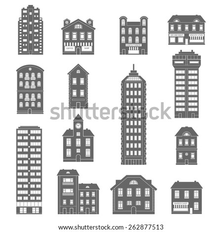Urban and suburb house and office buildings decorative icons black set isolated vector illustration - stock vector