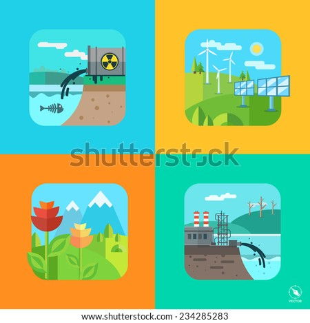 Urban and village landscape. Ecology, environment. Vector flat illustration - stock vector