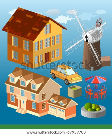 urban building isometric. very cool and detail vector series. see the others - stock vector