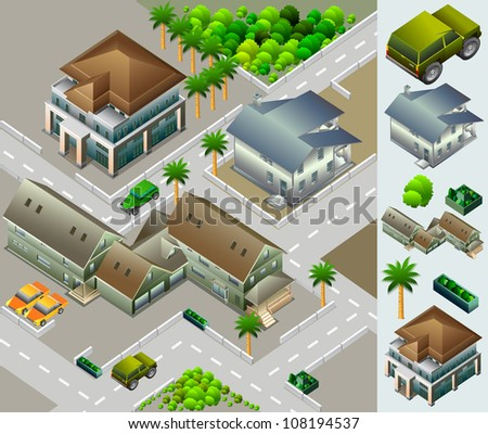 urban building isometric. very detail isometric vector - stock vector
