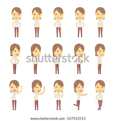 urban character set in different poses. simple flat design. - stock vector