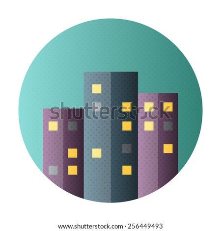 Urban city flat circle icon. Flat icon with halftone texture - stock vector