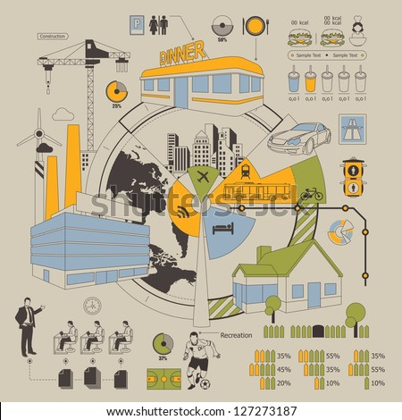 urban city life style info graphic, vector elements - stock vector