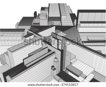 Urban City Of Skyscrapers Vector 324 - stock vector