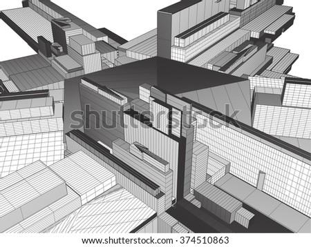 Urban City Of Skyscrapers Vector 326 - stock vector
